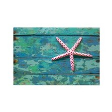 Starfish and Turquoise Rectangle Magnet