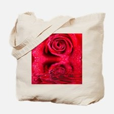 Reflections Of A Wet Red Rose Tote Bag
