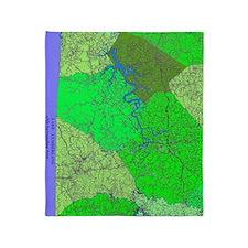 Lake Cumberland Map Throw Blanket
