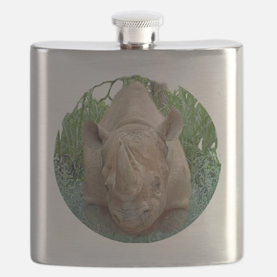 round rhino front/back Flask