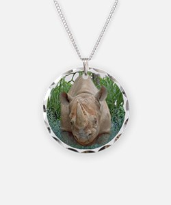 round rhino front/back Necklace