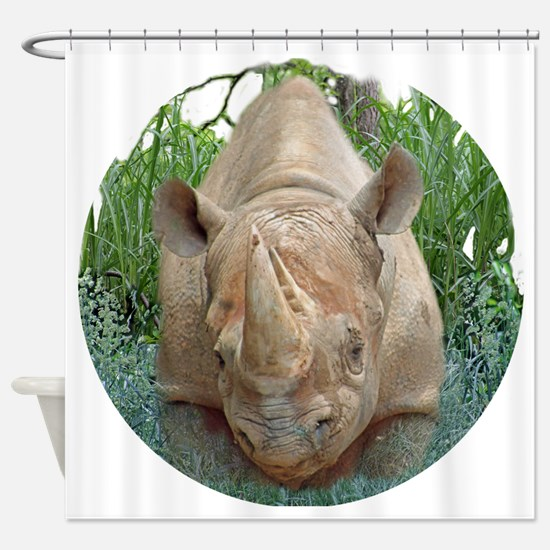 round rhino front/back Shower Curtain
