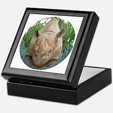 round rhino front/back Keepsake Box