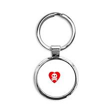 Skull and Crossed Bones Love Round Keychain