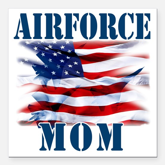 """Airforce Mom Square Car Magnet 3"""" x 3"""""""