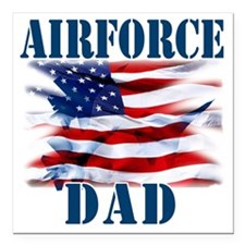 "Airforce Dad Square Car Magnet 3"" x 3"""