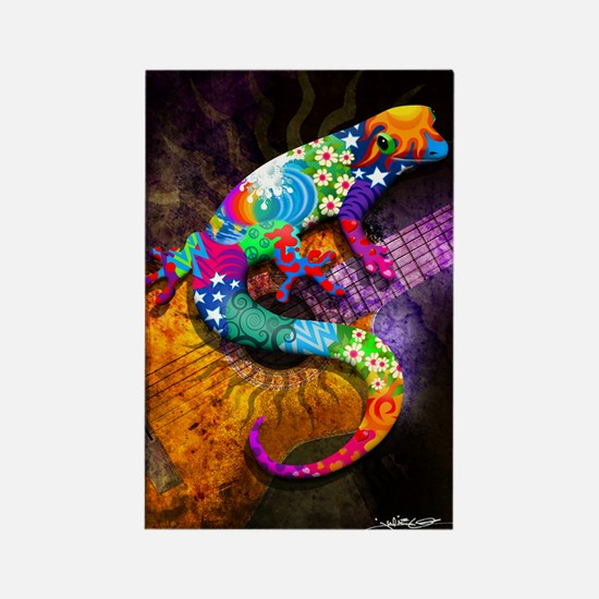 Guitar Gecko Rectangle Magnet