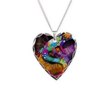 Guitar Gecko Necklace Heart Charm