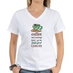 Get the Jumper Cables Women's V-Neck T-Shirt