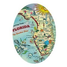 Vintage Greetings from Florida Oval Ornament