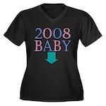 Baby 2008 Women's Plus Size V-Neck Dark T-Shirt
