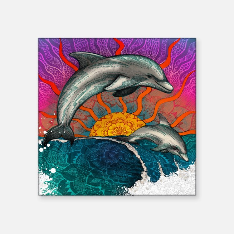 "Dolphin Ocean Wave Square Sticker 3"" x 3"""