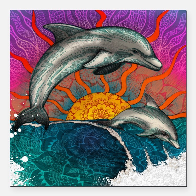 """Dolphin Ocean Wave Square Car Magnet 3"""" x 3"""""""