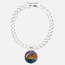 Dolphin Ocean Wave Charm Bracelet, One Charm