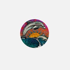 Dolphin Ocean Wave Mini Button