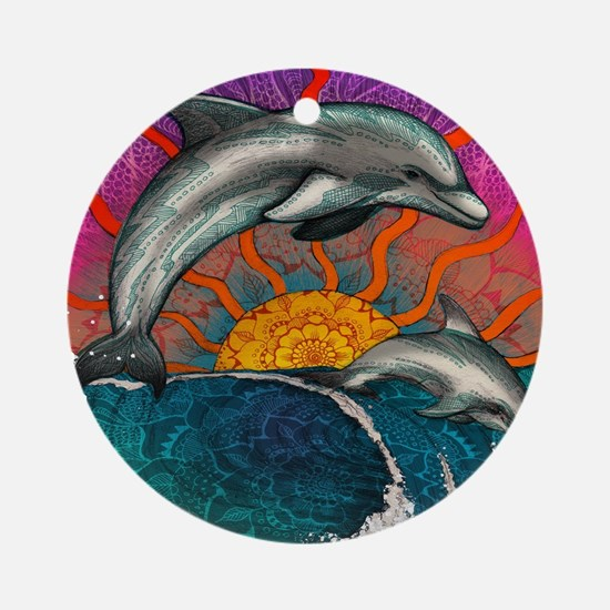 Dolphin Ocean Wave Round Ornament