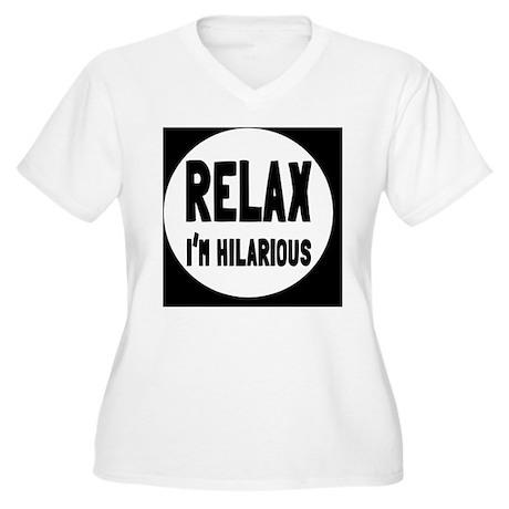 relaxbutton Women's Plus Size V-Neck T-Shirt