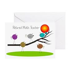 retired Math teacher retro birds Greeting Card