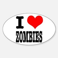 I Heart (Love) Zombies Oval Decal