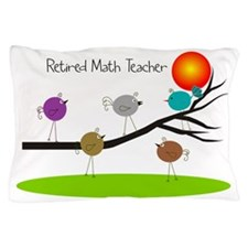 retired Math teacher retro birds Pillow Case