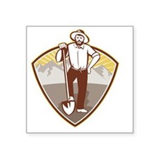 "Gold Digger Miner Prospecto Square Sticker 3"" x 3"""