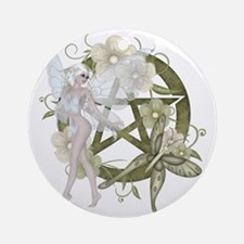 Beautiful fairy with pentacle Round Ornament
