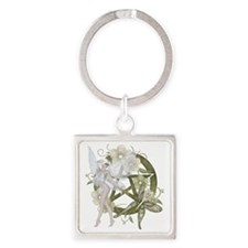 Beautiful fairy with pentacle Square Keychain