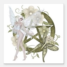 """Beautiful fairy with pen Square Car Magnet 3"""" x 3"""""""