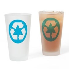 Recycling Logo Blue and White Recyc Drinking Glass