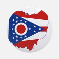 Ohio State Flag and Map Round Ornament