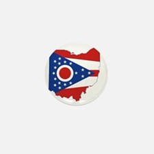 Ohio State Flag and Map Mini Button
