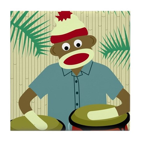 Sock Monkey Conga Drums Tile Coaster