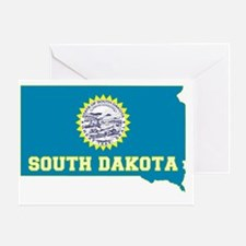 South Dakota State Flag and Map Greeting Card