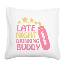 Drinking Buddy Square Canvas Pillow