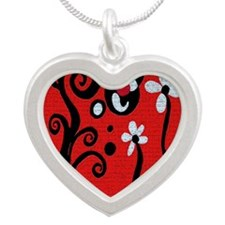 Red Retro Silver Heart Necklace