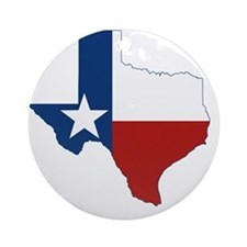 Texas State Flag and Map Round Ornament