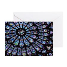 Stained glass window Notre Dame Greeting Card