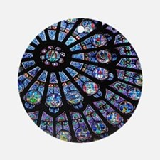 Stained glass window Notre Dame Round Ornament