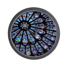 Stained glass window Notre Dame Wall Clock