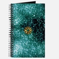 Teal and Gold Metal Flower Journal