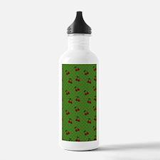Red Cherries on Green Water Bottle