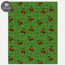 Red Cherries on Green Puzzle