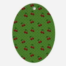 Red Cherries on Green Oval Ornament