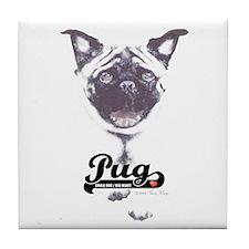 Pug-Big Heart Tile Coaster