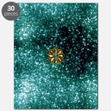 Teal and Gold Metal Flower Puzzle