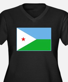 Djibouti Flag Women's Plus Size V-Neck Dark T-Shir