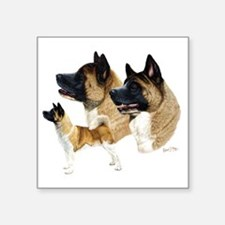 "Akita Multi Square Sticker 3"" x 3"""