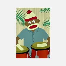 Sock Monkey Conga Drums Rectangle Magnet