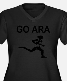 GO ARA Women's Plus Size Dark V-Neck T-Shirt