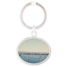 Dock of the Bay Oval Keychain
